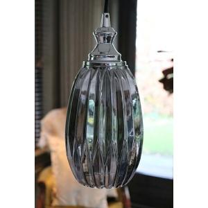 Smoked glass lamp ovaal